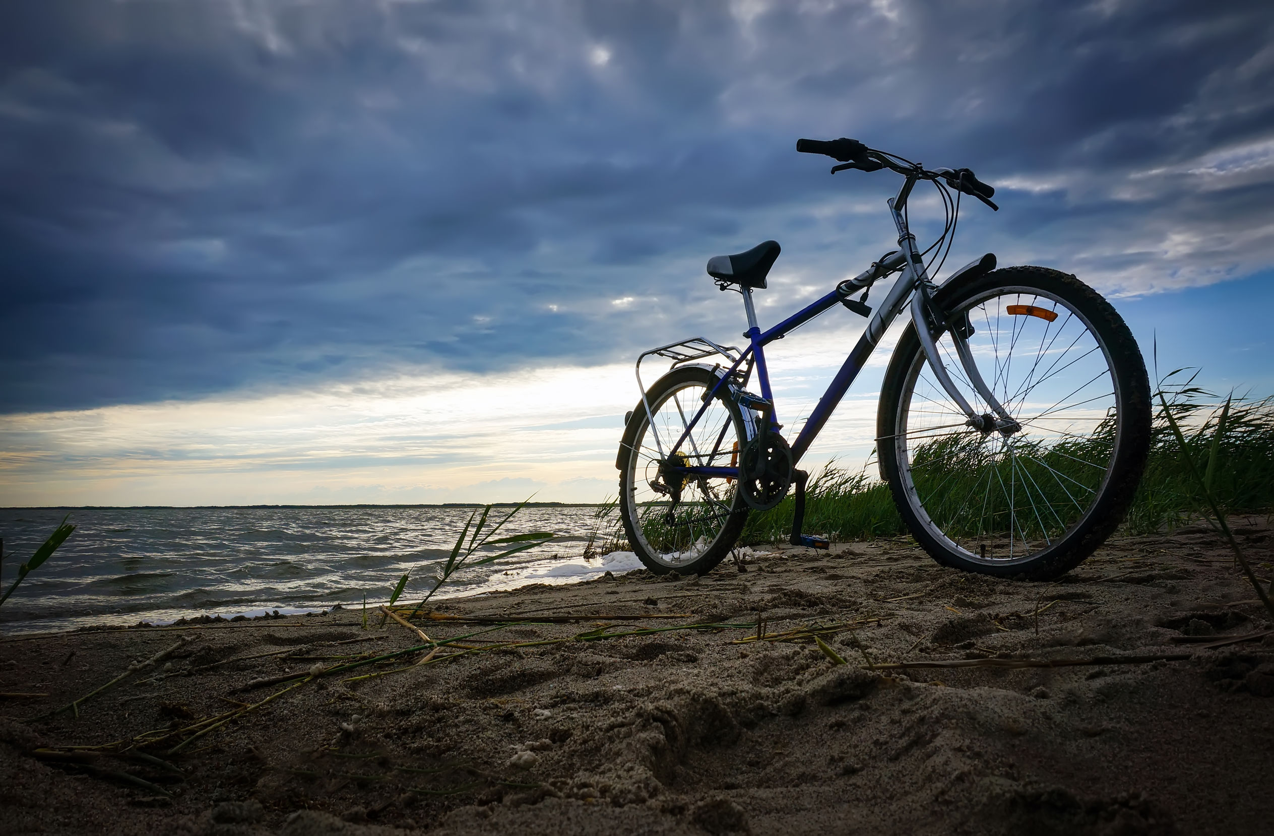 bicycle alone on a beach
